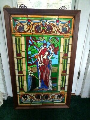 "Vintage Wood Framed Leaded Stained Glass Window Hanging 37"" x 23""  #1   (65)"