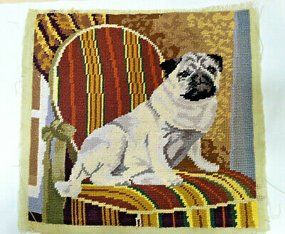 Vintage Pug dog puppy finished needlepoint excellent condition
