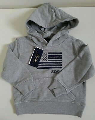 NWT Ralph Lauren Boys LS Embroidered Flag Terry Cotton Hoodie Pullover 5 6 NEW