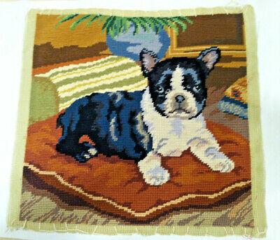 Vintage French Bulldog puppy dog finished needlepoint pillow clean exec conditio