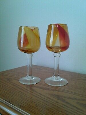 Hand Blown Glass Goblets, Swirl Orange and Red, Excellent, Set of 2