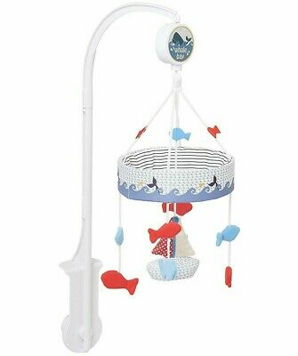 Mothercare Whale Bay Cot Mobile Musical Wind Up Soothing Motion Baby