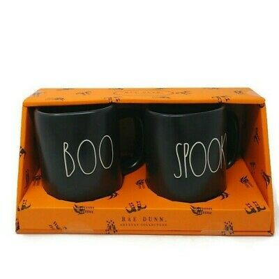 NEW Rae Dunn Halloween Collection By Magenta - LL - BOO & SPOOKY - Set of 2 Mugs