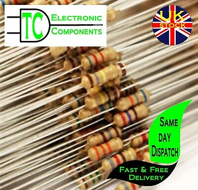 1/4W 0.25W Carbon Film Resistors 5% many values available (sold in packs of 20)