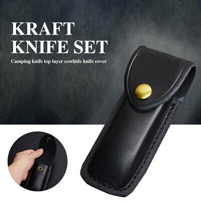 Portable Black Dagger Pocket Leather Sheath Folding Knife Case Hunting Tactical