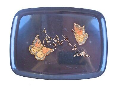 vintage Couroc of Monterey Inlaid Monarch Butterflies serving tray