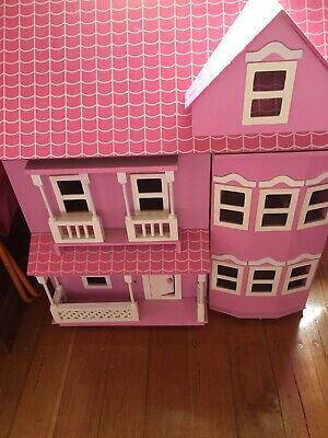 Wooden dolls house, dolls and furniture