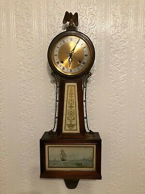 Antique New Haven Whitney 8 Day Banjo Wall Clock Clean & Working With Key