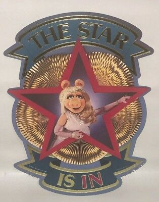 The Muppets Miss Piggy The Star Is In Cardboard Sign Decoration Hallmark Vtg