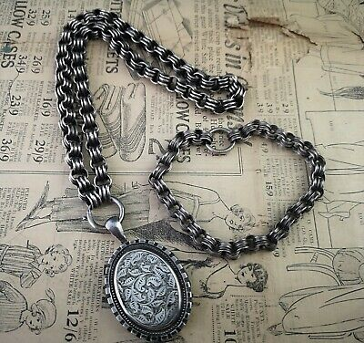 Antique Victorian aesthetic silver locket and collar necklace, with bracelet