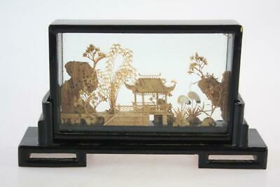 Chinese Vintage Handmade Cork Art Scene In Lacquer Glass