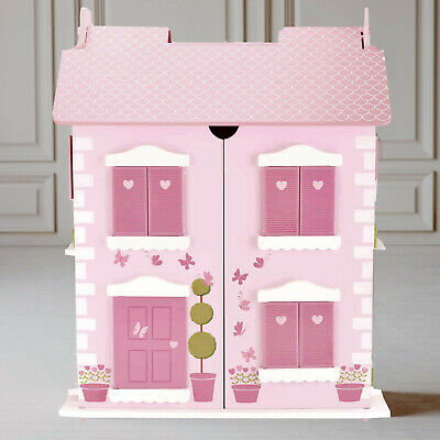 Wooden Dolls House 3 Floors with 10PCs Furnitures Toy Alice Dollhouse - HG19003P