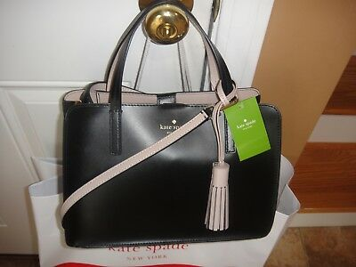 New Kate Spade ILISE ROWAN Street BLACK/Rsecid Leather Satchel bag.100%Authentic