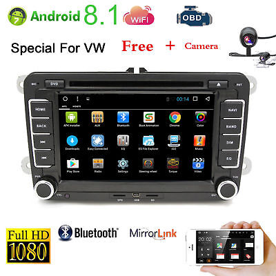For VW Golf Passat Jetta 2Din Android 8.1 Car DVD MP5 Player GPS Navigation+Cam