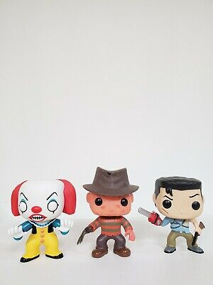 Funko Pop Horror Lot of 3 Pops OOB Army of Darkness Ash Pennywise Freddy Kruege