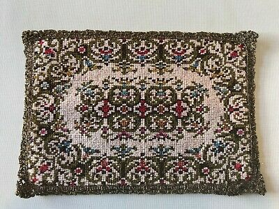 Antique vintage european french knot tapestry needlepoint doilie metallic lace