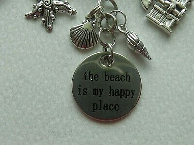 The beach is my happy place BFS2712 Beach Stainless Steel Charms