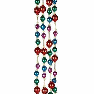 Kurt Adler 6' Glass Bead Multicolor Christmas Tree Garland Decoration