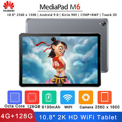 """Huawei MediaPad M6 10.8"""" Tablet Android 9.0 13MP+8MP Touch ID Dual WiFi 4G+128G"""