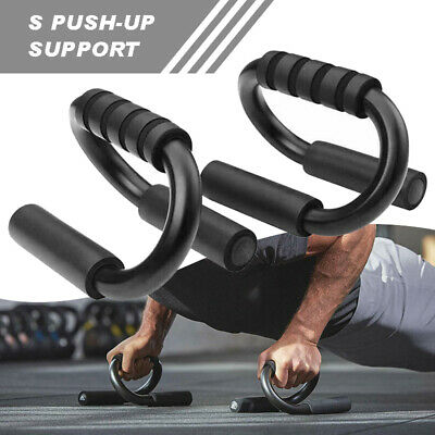 Push Up Stand Foam Handles Grip Bar Press S-shaped Home Gym Training Fitness UK