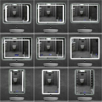 LED Bathroom Mirror illuminated Sensor Touch Switch Wall Light IP44 Demister Pad