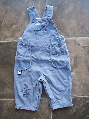 Baby Boy's Max & Tilly Blue Corduroy Winter Overalls Size 0 VGUC