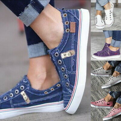 Womens Slip On Canvas Flat Trainers Ladies Casual Loafers Plimsolls Pumps Shoes