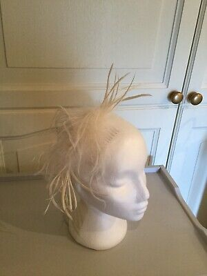 Very Pretty Feather Fascinator Cream Colour Wedding, Races, Dancing