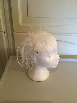 Very Pretty Feather Fascinator Winter White Colour Wedding, Races, Dancing