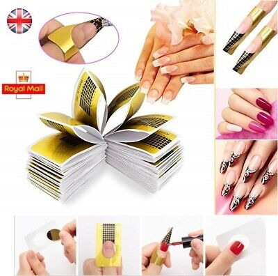 UK Nail Extension Stickers Form Guide Manicure Gold Acrylic UV Gel Builder
