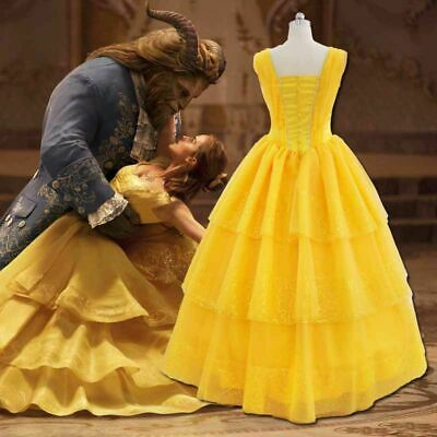 Women Girls Beauty and The Beast Adult Belle Cosplay Costume Sleeveless Dress AU