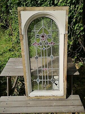 Antique Victorian Stained Glass Leaded Window Panel with Arch