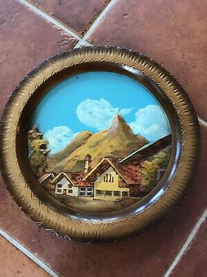 German 3D Wooden Plate. Hand Carved In Oberammergau