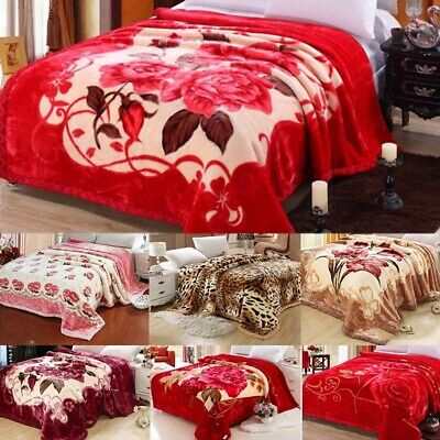 Blanket Double Sided Plush Throw Sofa Winter Thick Flannel Bedding King Size