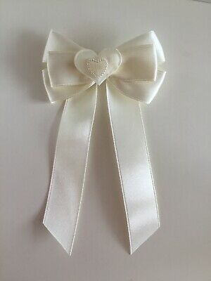 "Wedding Flower Girls Christening Small 3.5"" Girls Ivory Hair Bow Clip Long Tails"