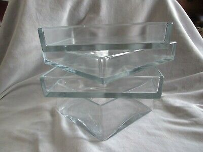 Sandra Rich Glass Square Bowl & 3 Other Square Shallow Bowls Jardinieres