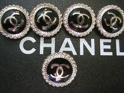 CHANEL  5 AUTHENTIC BLACK  SILVER cc 18 MM BUTTONS THIS IS FOR 5