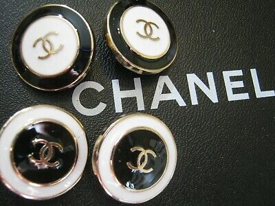 CHANEL  4 BLACK WHITE GOLD CC  24mm BUTTON THIS IS FOR 4 FLAWLESS