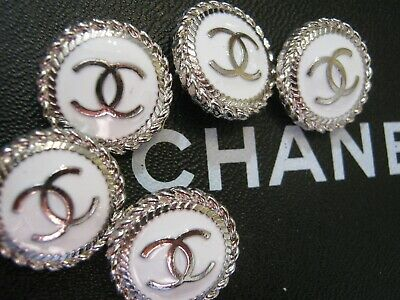 CHANEL  5 AUTHENTIC white SILVER cc 18 MM BUTTONS THIS IS FOR 5