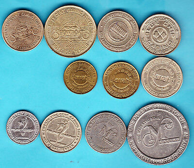Lot Of 11 Different Very Nice Indiana Casino Metal Gaming Tokens.
