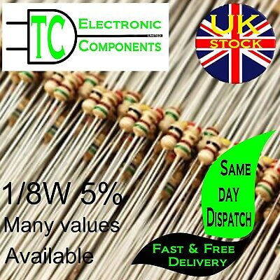1/8W Carbon Film Resistors 5% Many Values Available (sold in packs of 25)