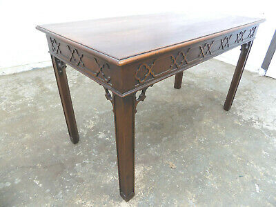 antique,repro,carved,mahogany,coffee table,square legs,drawers,occasional,table,