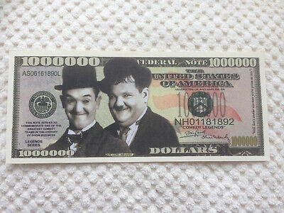 Set of Two Laurel & Hardy Million Dollar Doublesided Novelty Banknotes. FREE P&P