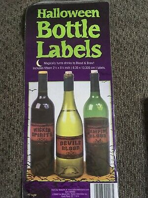 Halloween Potion Bottle Labels, Uncut Label Stickers Set of 15 Brand New