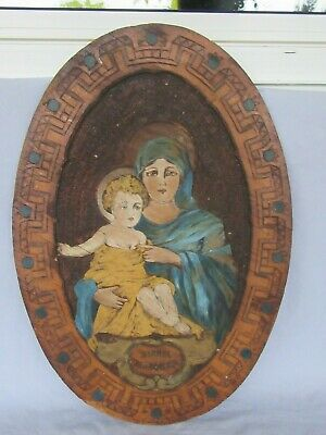 Antique Sichel Madonna & Child Painted Wood Pyrography Hanging Art