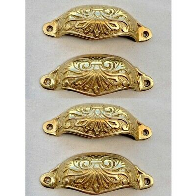 4 engraved cast shell shape pulls handles solid brass vintage POLISHED drawer