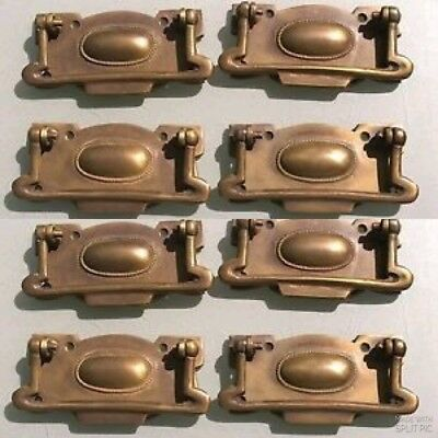 8 large cabinet handles brass furniture vintage age old style 110mm heavy
