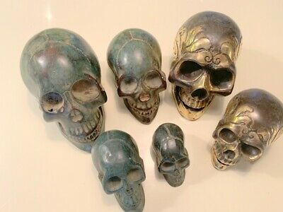 "6 SKULL head solid hollow BRASS vintage style collect 6"" statues day the dead B"