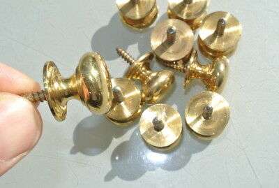 10 small screw KNOBS pull handles antique solid pure brass drawer knob 19mm 3/4""