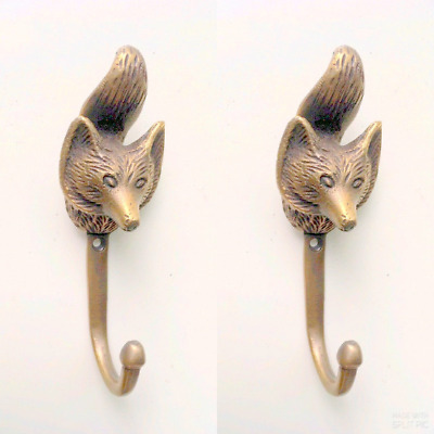 "2 FOX Head 4.1/4"" Solid Brass hook Antique Strong Wall Mount Coat Hat Hook"